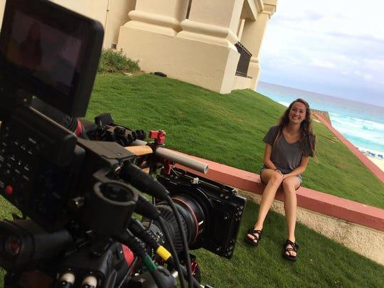 Carmen Hoyt shoots a scene for an episode of Xploration Station.