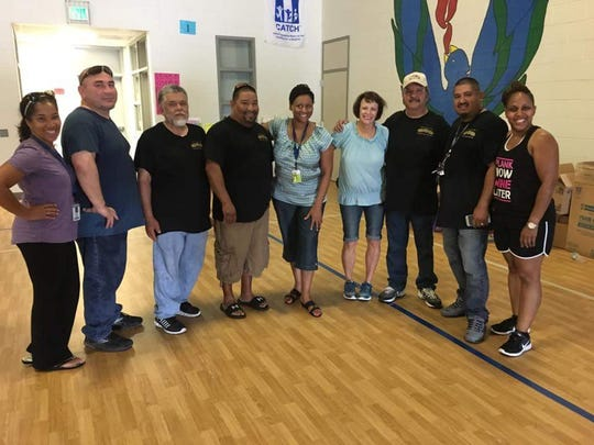 Abilene Lodge 325 Independent Order of Odd Fellows members delivered a moving truck of donated Hurricane Harvey relief supplies to Franz Elementary School staff in Katy. From left: Michelle Dawkins, David Ramirez, Mario Rosales, Steve Galvan, Yvette Dylvan, Kathy Leonard, Lee Ramirez Sr., Lee Ramirez Jr. and Adrienne Thompson.