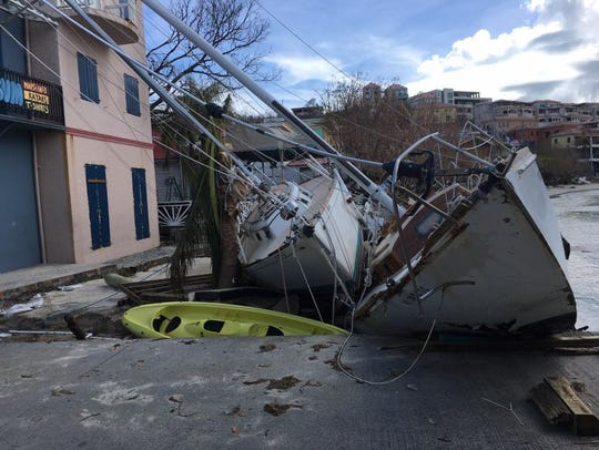 Damage caused by Hurricane Irma is seen in a picture
