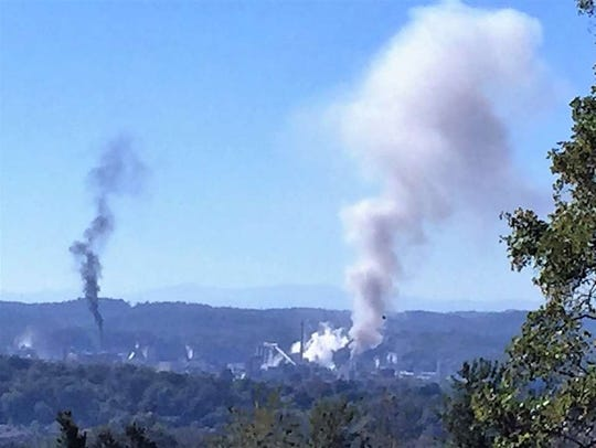 Smoke rises from Eastman Chemical in Kingsport, Tenn.,