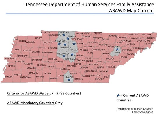 SNAP work requirements exist in nine Tennessee counties.