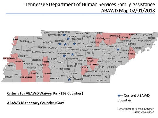 The work requirement will continue to be waived in 16 counties that are designated as distressed and have a labor surplus.