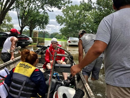 Performing search and rescues in Texas in the aftermath of Hurrican Harvey