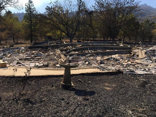 Cassie Taaning-Trotter lost her home  in Redwood Valley, California, in a wind-whipped wildfire. She returned Friday to find almost nothing left.