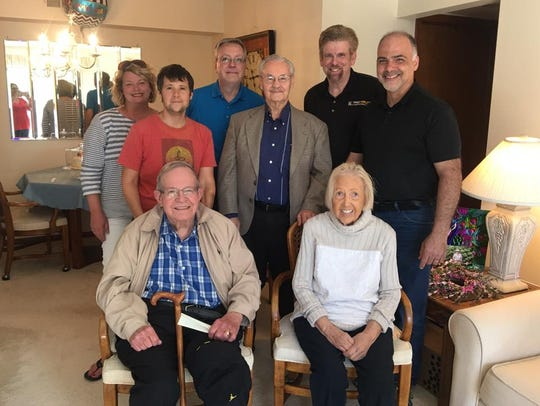 """Friends, including members of the Plymouth Kiwanis Club, recently serenaded Fran Toney (lower right) with a rendition of """"My Girl."""" Among the singers: Dorothy Miller Twinney, Joe Grima, Scott McGlone, Walter W. MIller Jr., Maria Maley Combe (not pictured), Virginia Smith Kempainen (not pictured), and Jerry Gardner."""
