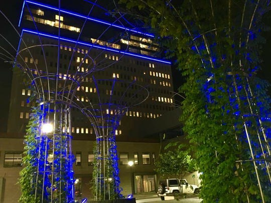 Downtown buildings and structures were illuminated in blue Sunday in honor of Jack James Heiligman. The Webster boy died after a lawnmower accident in October 2016.