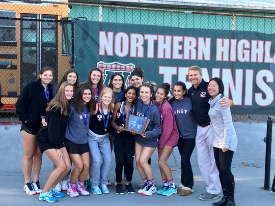 Northern Highlands girls tennis team poses with the North 1, Group 3 championship trophy on Tuesday, Oct. 17.