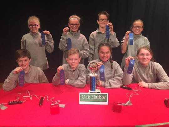Sixth-grade competitors are, front row, Nick Slagle, Lainey Pollauf, and Dorianne Schiets. In second row are Maia Mattimoe, Nora Schmidt, Braden Schimmoeller, and Hollie Robinson.