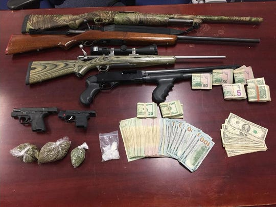 Drugs and guns seized at a Churchville home last week.