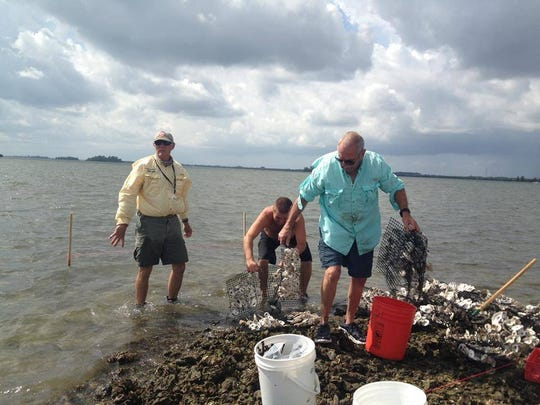 Paul Dritenbas, left, with Ron Slade, in the forground, work on a Lagoon Oyster Mat project.