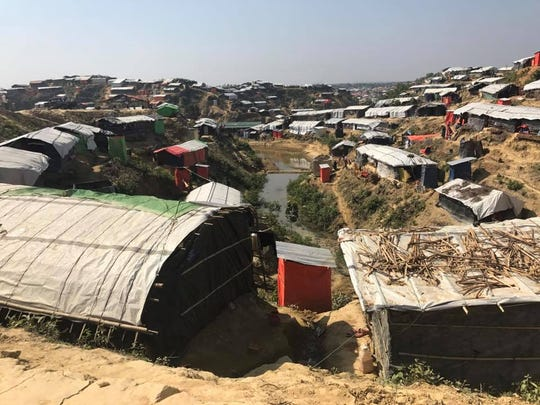 A scene from a refugee camp in Bangladesh, to which thousands of Rohingya have fled amid a wave of violence against them in neighboring Myanmar.
