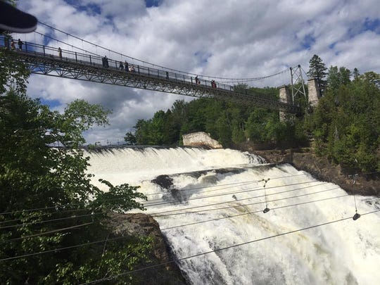At 270 feet, Montmoremcy Falls, outside Quebec City is taller than Niagara Falls, with visitors welcome to walk across the suspension bridge above it.