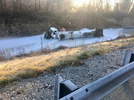 This fire department photo shows the aftermath of the overturned liquified oxygen tanker at Exit 8 along Interstate 83.