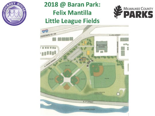 Proposed Felix Mantilla Little League baseball diamonds at Milwaukee County's Baran Park. Three league diamonds and a smaller T-ball field would be located south of a high school regulation field, as part of a Journey House plan to invest $2.8 million in private funds in the park.