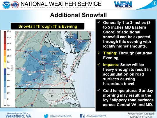 Additional snowfall totals for Demarva on Saturday,