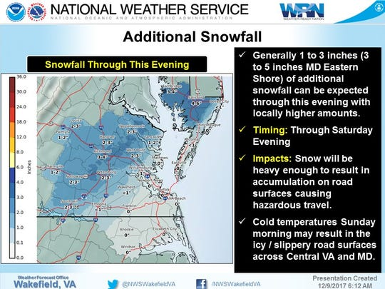 Additional snowfall totals for Demarva on Saturday, Dec. 9.