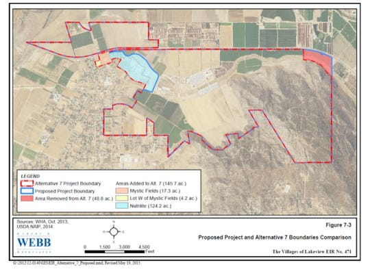 Riverside County approved the project boundaries for Villages of Lakeview, outlined in red, at a meeting on Dec. 5.