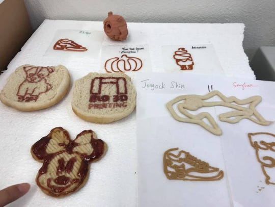 A variety of 3D designs made with peanut butter, jelly