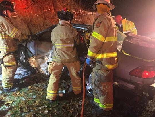 Four people were injured in a crash on the Taconic