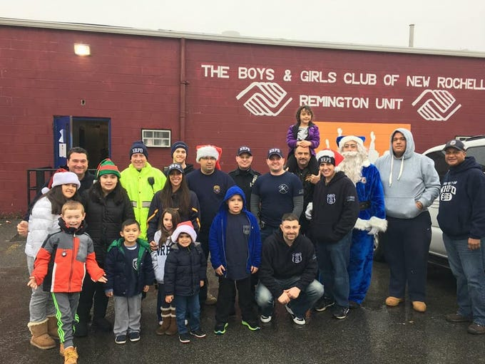 Members of the New Rochelle PBA brought gifts to the