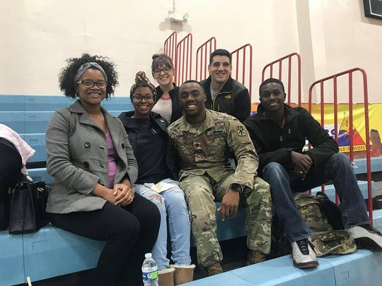 Families and friends say goodbye at Fort Bliss to deploying soldiers from the 5th Battalion, 52nd Air Defense Artillery Regiment, which deployed in December.