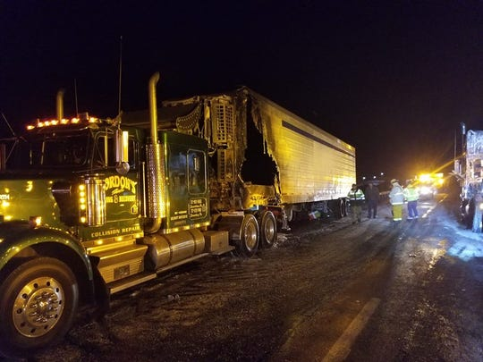 The damage after a vehicle fire on I-83 near Shrewsbury on Wednesday.