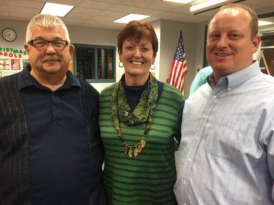 Nancy Greenslade with Clyde mayor Scott Black, left, and Green Springs mayor (and son) Adam Greenslade.