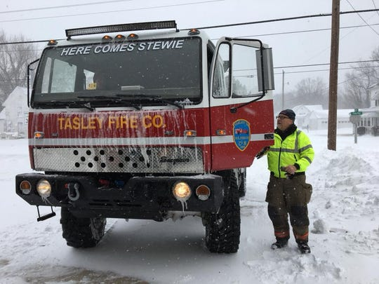 Chief Jeff Beall of the Tasley Volunteer Fire Co. has been busy responding to calls since early Thursday, Jan. 4, 2018 during a winter storm in Accomack County, Virginia.