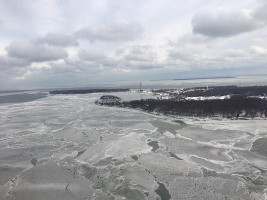 A view from Dustin Shaffer's air taxi flying over South Bass Island surrounded by a frozen Lake Erie.