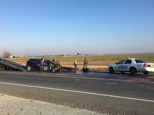 California Highway Patrol officers are investigating a deadly collision just south of Tulare.