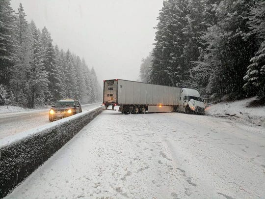 Northbound Interstate 5 traffic came to a standstill Thursday morning after a U.S. mail big rig jackknifed near Castella, forcing the closure of the freeway.