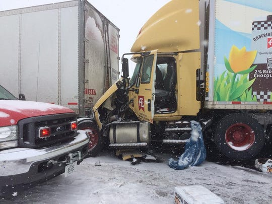 These two semi's were two of the more than 19 vehicles involved in a crash on Interstate 80 near the west bound 190 mile marker on Monday, Feb. 5.