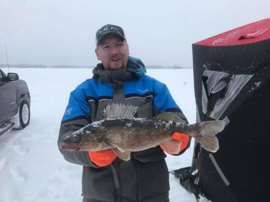Gareth with a big central Wisconsin walleye.