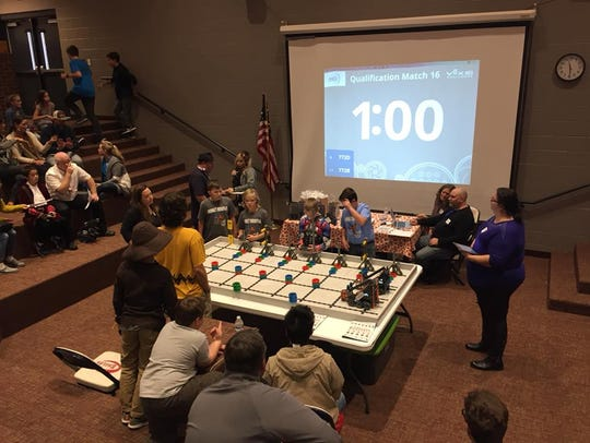 The Hornets Robotics middle school team competes in