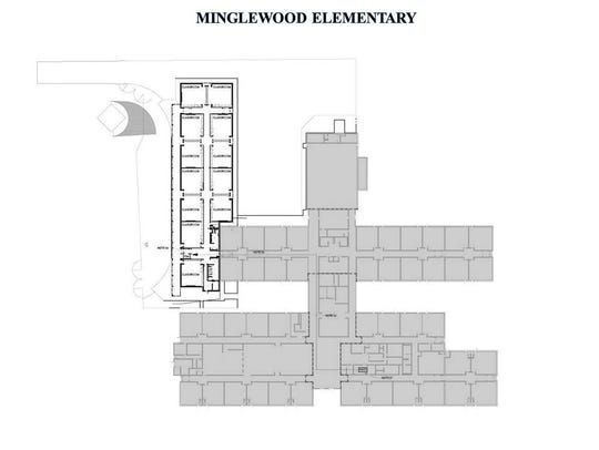 Aerial blueprint of Minglewood Elementary School, with expansion areas shown.