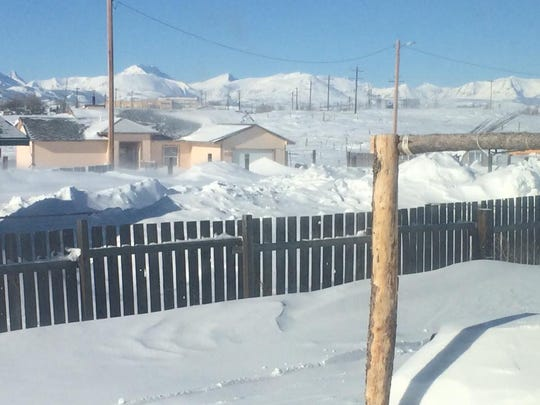 Snowdrifts in Browning on the Blackfeet Indian Reservation