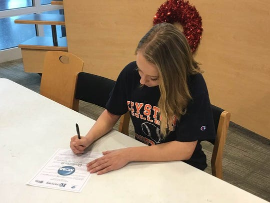 Hannah Dickson announced her intent to play softball at Keystone College on Feb. 23.