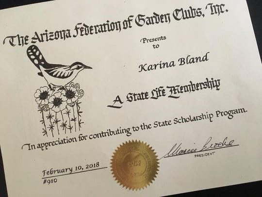 The Arizona Federation of Garden Clubs made Karina