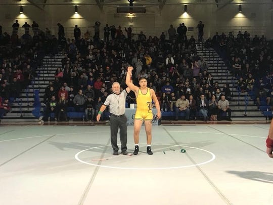 Ben Perez won the 170-pound weight class, the first CCS title of his career, to give the Everett Alvarez Eagles two champions. Coach Martin Martinez said his improved strength and practice against cousin Matthew Martinez helped him to victory this season.