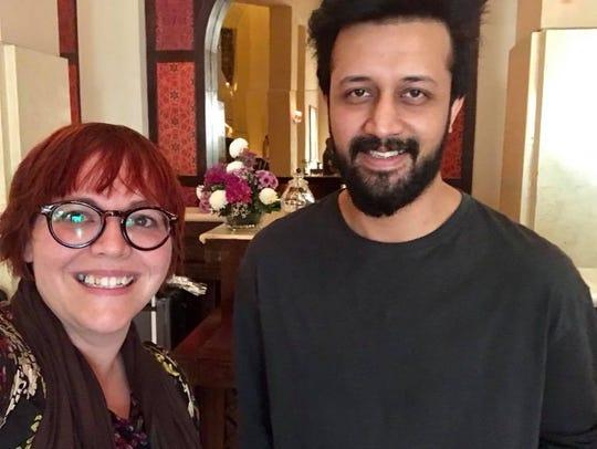 Abbey Doyle with Atif Aslam.