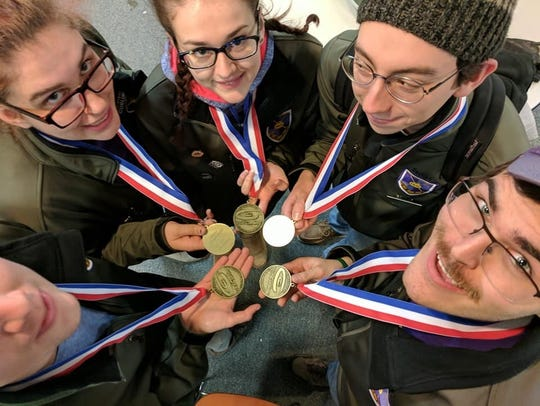 UWSP's national champion curlers include, clockwise from lower left, Lorenzo Smith, Megan Banaski, Cassie Strebe, Noah Behling and Logan Ebert.
