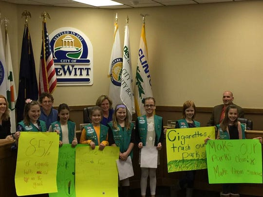 Girl Scouts in the DeWitt area who have convinced City Council to pass an ordinance that would make all parks and a playground smoke-free. The ordinance is expected to take effect April 1.