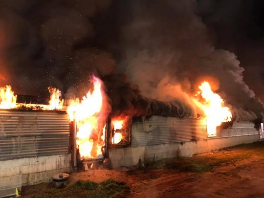 Three fire companies responded to a chickenhouse fire