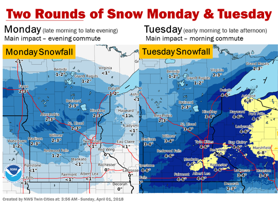 April snowfall predicted for Monday and Tuesday this