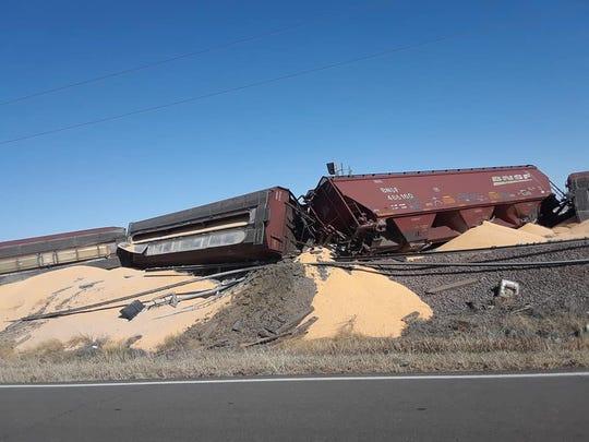 Around 30 BNSF cars derailed near Oswego in eastern Montana Saturday.