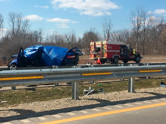 In a Sunday, April 8, 2018, photo, Authorities say a 74-year-old man drove the wrong way on a highway in Michigan, causing a multi-vehicle crash that left several people from Ohio dead and several others injured near Whitmore Lake, Mich.