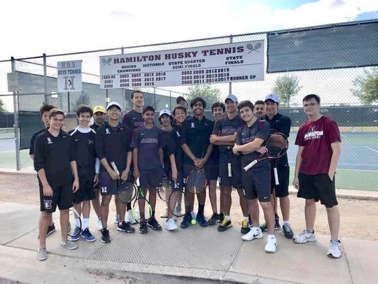 The Chandler Hamilton boys tennis varsity team has
