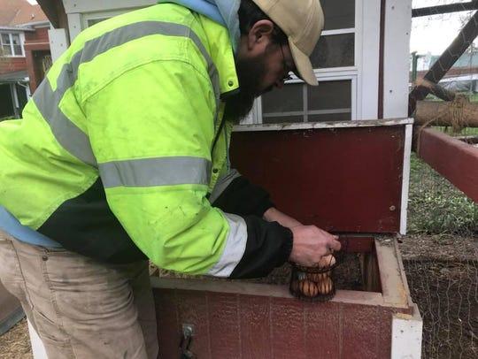 Hanover resident Matt Vandewater removes eggs from
