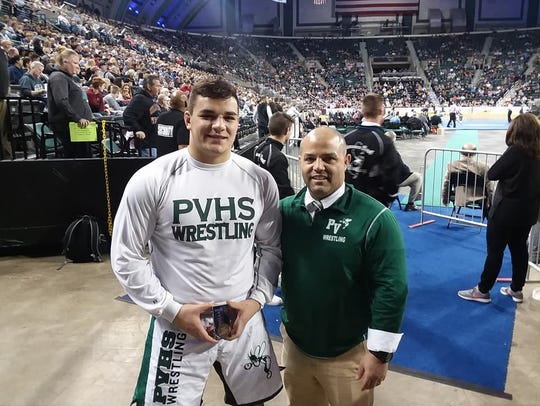 Tom Marretta and Passaic Valley wrestling coach Joe