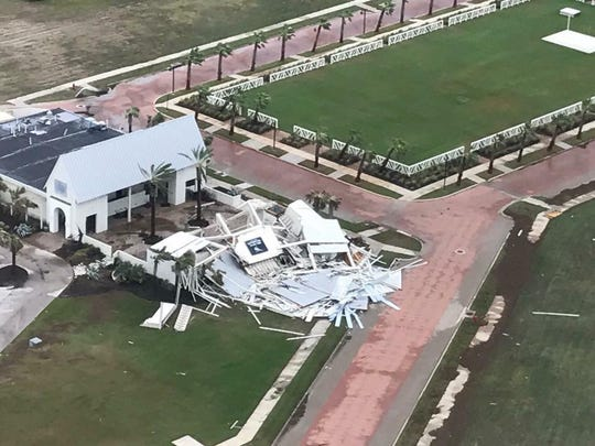 Aerial view of Black Marlin Bar & Grill after Hurricane Harvey in August 2017.